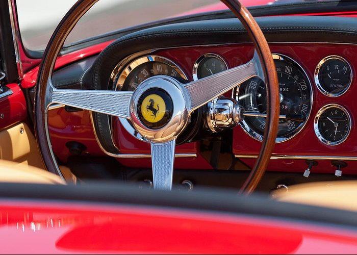 1960 Ferrari 250 Gt Cabriolet Pininfarina Series Ii Steering Wheel Emblem Greeting Card featuring the photograph 1960 Ferrari 250 Gt Cabriolet Pininfarina Series II Steering Wheel Emblem by Jill Reger