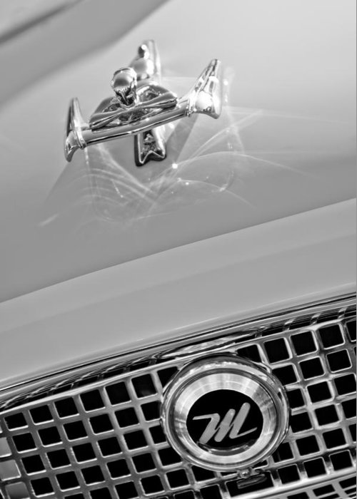 1960 Nash Metropolitan Hood Ornament And Grille Emblem Greeting Card featuring the photograph 1960 Nash Metropolitan Hood Ornament by Jill Reger