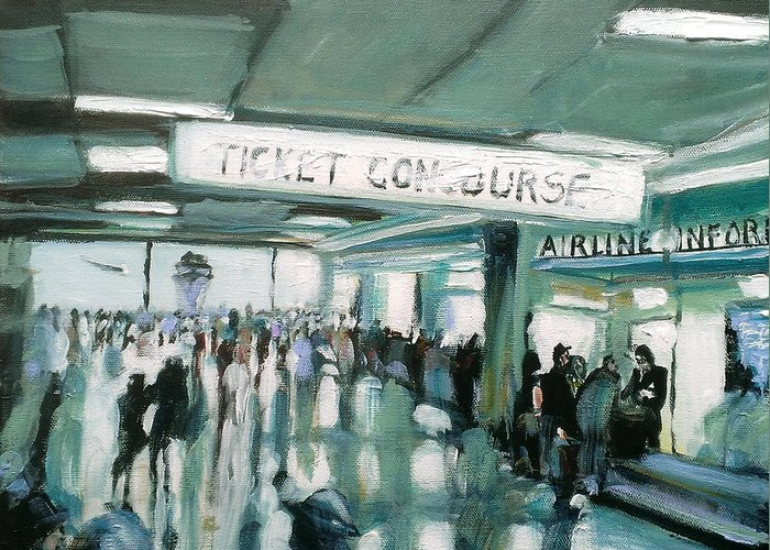 Airport Greeting Card featuring the painting 1960's Airport by Paul Mitchell