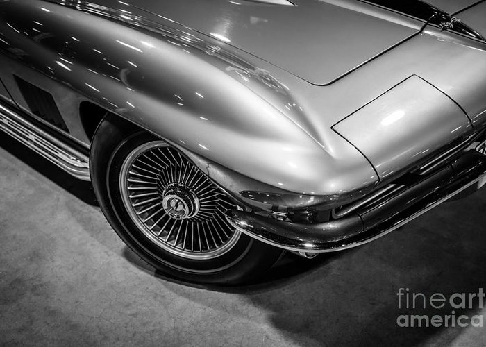 1963 Greeting Card featuring the photograph 1960's Corvette C2 In Black And White by Paul Velgos