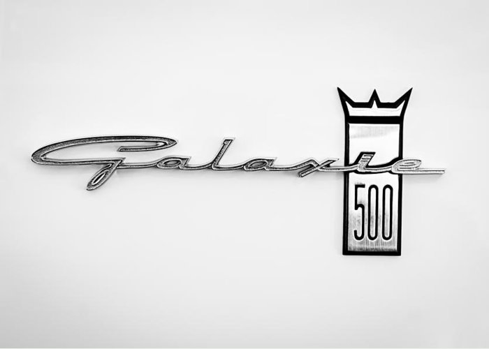 1963 Ford Galaxie 500 R-code Factory Lightweight Emblem Greeting Card featuring the photograph 1963 Ford Galaxie 500 R-code Factory Lightweight Emblem by Jill Reger