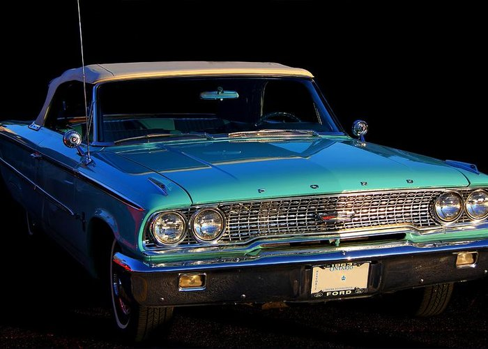 Ford Greeting Card featuring the photograph 1963 Ford Galaxy by Davandra Cribbie