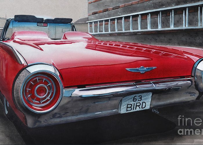 T Bird Greeting Card featuring the drawing 1963 Ford Thunderbird by Paul Kuras