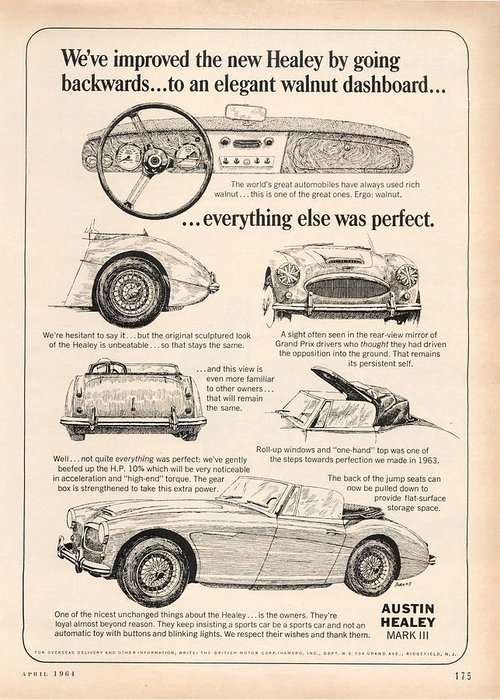 Old Greeting Card featuring the digital art 1964 Austin Healey by Georgia Fowler