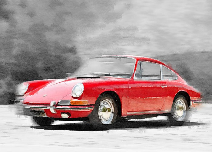 Porsche 911 Greeting Card featuring the painting 1964 Porsche 911 Watercolor by Naxart Studio