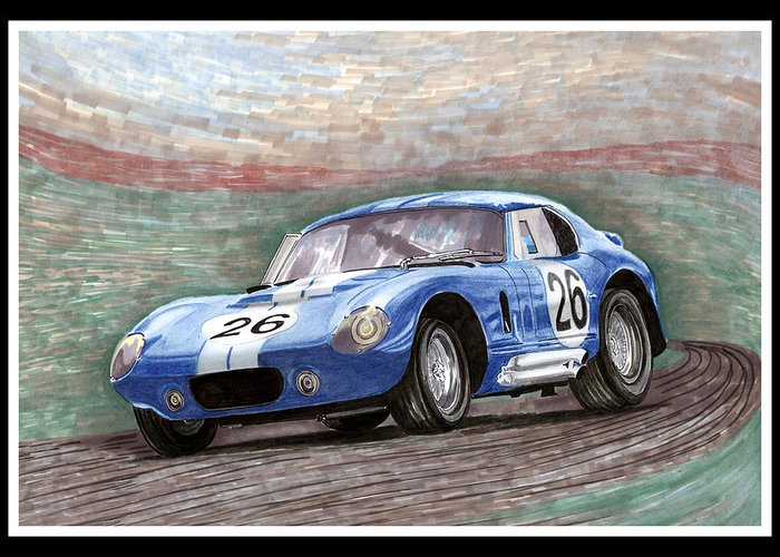 Carroll Shelby International Greeting Card featuring the painting 1964 Shelby Daytona by Jack Pumphrey