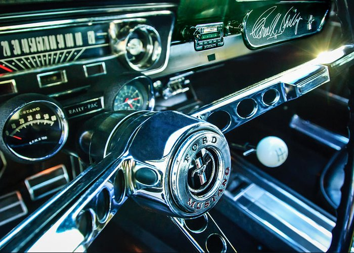 1965 Shelby Prototype Ford Mustang Steering Wheel Greeting Card featuring the photograph 1965 Shelby Prototype Ford Mustang Steering Wheel Emblem 2 by Jill Reger