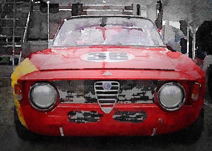 Alfa Romeo Gtv Greeting Card featuring the painting 1967 Alfa Romeo Gtv Watercolor by Naxart Studio