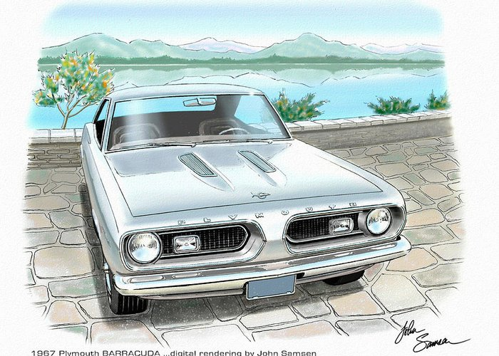 1967 Barracuda Classic Plymouth Muscle Car Sketch Rendering Greeting