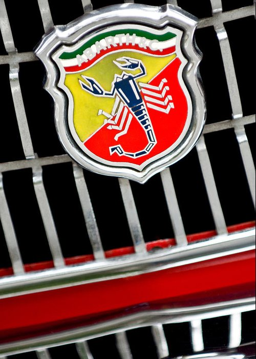 1967 Fiat Abarth 1000 Otr Greeting Card featuring the photograph 1967 Fiat Abarth 1000 Otr Emblem by Jill Reger