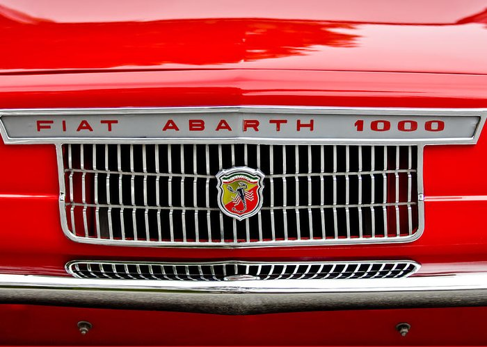 1967 Fiat Abarth 1000 Otr Greeting Card featuring the photograph 1967 Fiat Abarth 1000 Otr Grille by Jill Reger