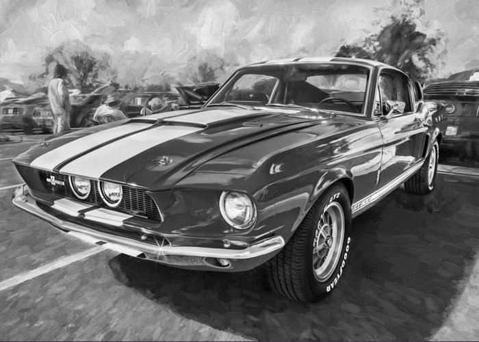 1967 Ford Shelby Gt500 Greeting Card featuring the photograph 1967 Ford Shelby Mustang Gt500 Painted Bw by Rich Franco