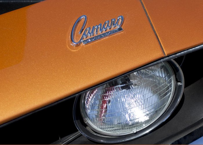 1969 Chevrolet Camaro Greeting Card featuring the photograph 1969 Chevrolet Camaro Headlight Emblem by Jill Reger