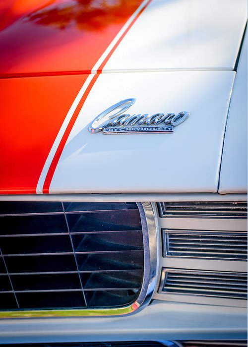 1969 Chevrolet Camaro Rs-ss Indy Pace Car Replica Hood Emblem Greeting Card featuring the photograph 1969 Chevrolet Camaro Rs-ss Indy Pace Car Replica Hood Emblem by Jill Reger