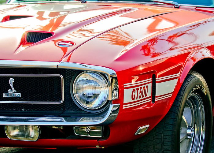 1969 Shelby Cobra Gt500 Front End - Grille Emblem Greeting Card featuring the photograph 1969 Shelby Cobra Gt500 Front End - Grille Emblem by Jill Reger