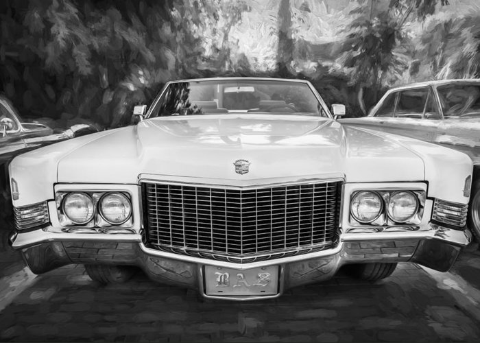 1970 Cadillac Greeting Card featuring the photograph 1970 Cadillac Coupe Deville Convertible Painted Bw by Rich Franco