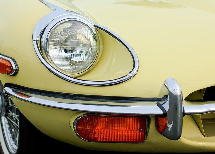 1970 Jaguar Xk Type-e Greeting Card featuring the photograph 1970 Jaguar Xk Type-e Headlight by Jill Reger