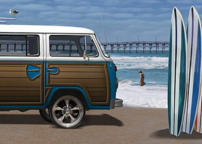 1970 Vw Bus Greeting Card featuring the photograph 1970 Vw Bus Woody by Mike McGlothlen