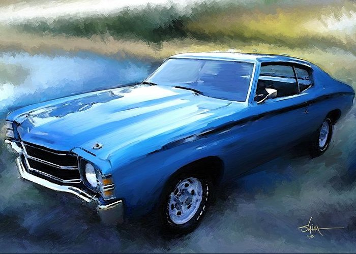 1971 Greeting Card featuring the painting 1971 Chevy Chevelle by Robert Smith
