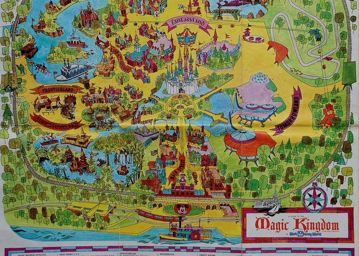 1971 Original Map Of The Magic Kingdom Greeting Card For Sale By Rob