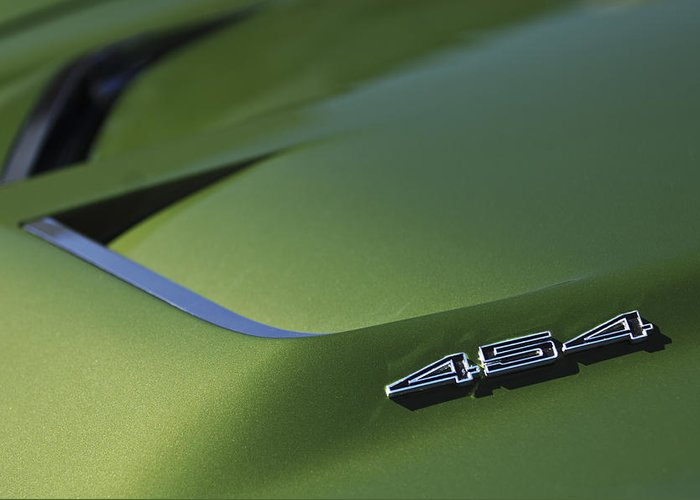 Car Greeting Card featuring the photograph 1972 Chevrolet Corvette Convertible Stingray 454 Hood by Jill Reger