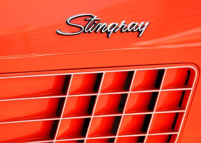 1972 Chevrolet Corvette Stingray Emblem Greeting Card featuring the photograph 1972 Chevrolet Corvette Stingray Emblem 3 by Jill Reger