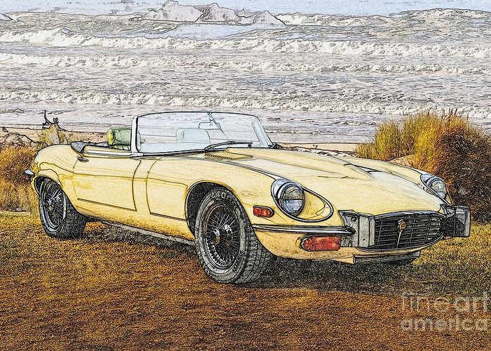 Auto Greeting Card featuring the photograph 1974 Jaguar Xke Illustration by Dave Koontz