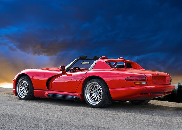 Auto Greeting Card featuring the photograph 1995 Dodge Viper II by Dave Koontz