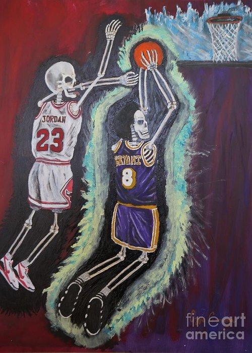Kobe Greeting Card featuring the painting 1997 Kobe Vs Jordan by Visual Renegade Art