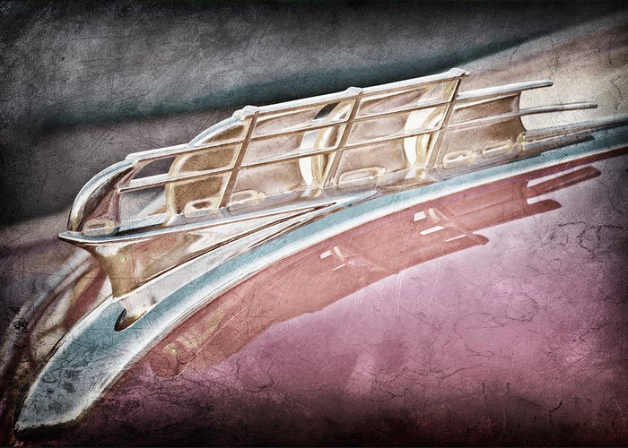 1949 Plymouth Hood Ornament Greeting Card featuring the photograph 1949 Plymouth Hood Ornament by Jill Reger