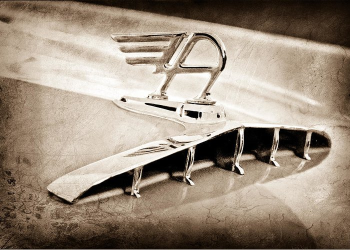1957 Austin Cambrian 4 Door Saloon Hood Ornament Greeting Card featuring the photograph 1957 Austin Cambrian 4 Door Saloon Hood Ornament by Jill Reger