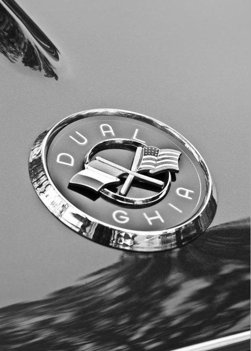 1957 Dual-ghia Convertible Emblem Greeting Card featuring the photograph 1957 Dual-ghia Convertible Emblem by Jill Reger