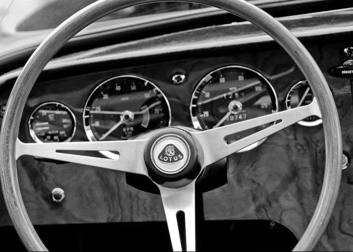 1965 Lotus Elan S2 Steering Wheel Emblem Greeting Card featuring the photograph 1965 Lotus Elan S2 Steering Wheel Emblem by Jill Reger