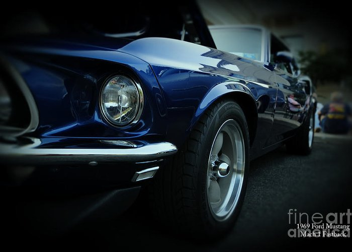 Blue Mustang Greeting Card featuring the photograph 1969 Ford Mustang Mach 1 Fastback by Paul Ward
