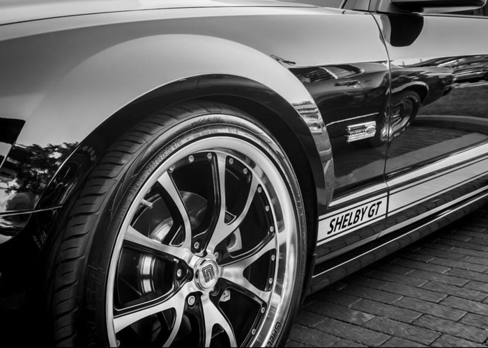 2007 Mustang Greeting Card featuring the photograph 2007 Ford Mustang Shelby Gt Painted Bw  by Rich Franco