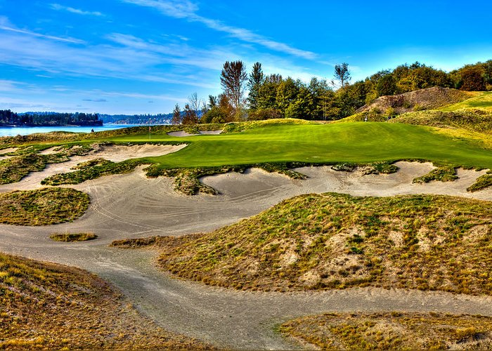 Chambers Bay Golf Course Greeting Card featuring the photograph #3 At Chambers Bay Golf Course - Location Of The 2015 U.s. Open Championship by David Patterson