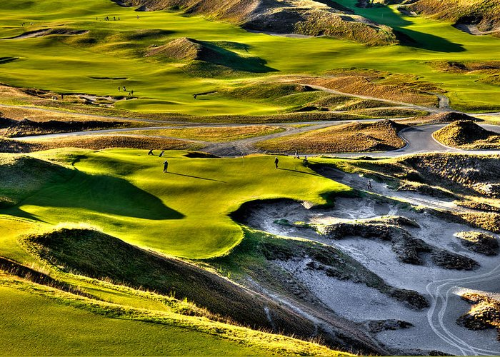Chambers Bay Golf Course Greeting Card featuring the photograph #9 At Chambers Bay Golf Course by David Patterson
