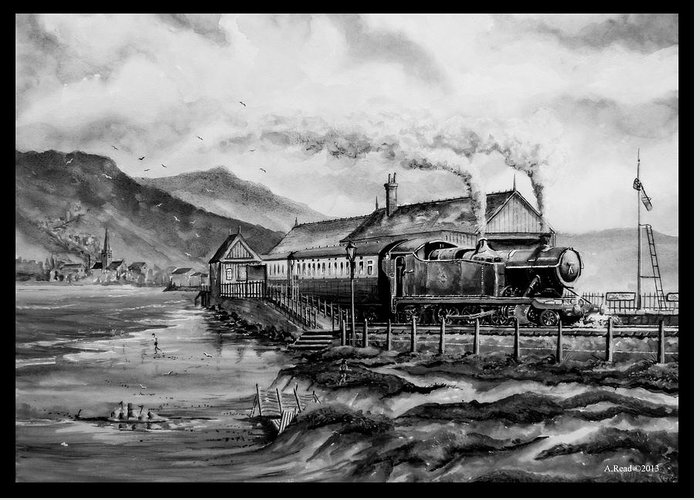 Train Greeting Card featuring the painting A Day At The Seaside by Andrew Read
