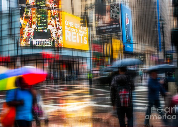 Nyc Greeting Card featuring the photograph A Rainy Day In New York by Hannes Cmarits