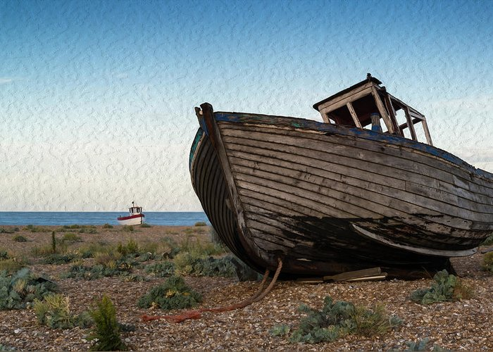 Landscape Greeting Card featuring the photograph Abandoned Fishing Boat Digital Painting by Matthew Gibson