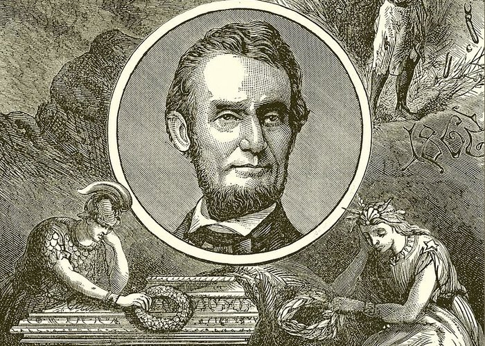 Abraham Lincoln Greeting Card featuring the drawing Abraham Lincoln by English School