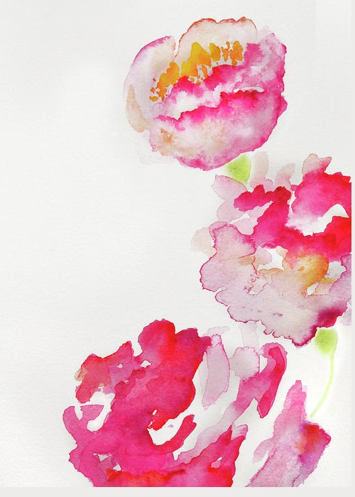 Art Greeting Card featuring the photograph Abstract Watercolour Flowers by Kathy Collins