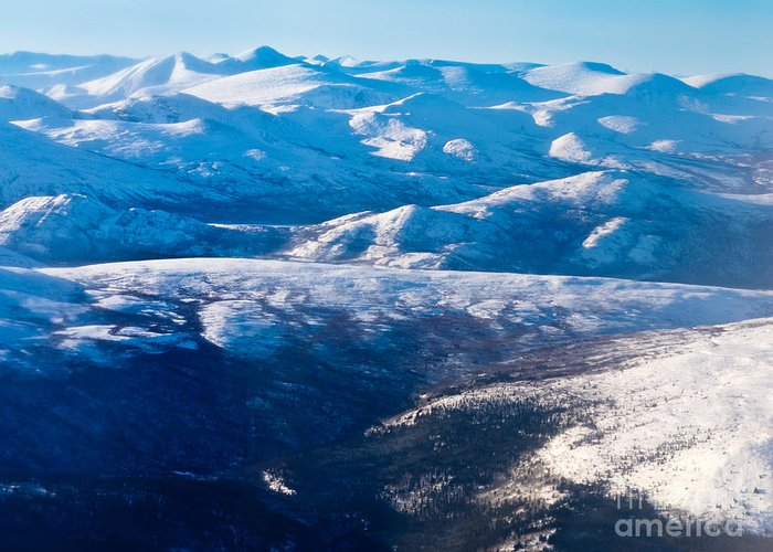 Aerial Greeting Card featuring the photograph Aerial View Of Snowcapped Peaks In Bc Canada by Stephan Pietzko