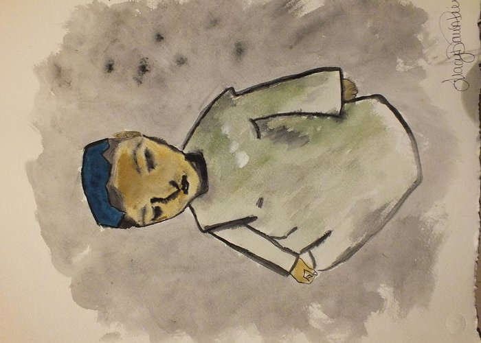 Afghanistan Greeting Card featuring the painting Afghan Village Boy by Tracy Pierce