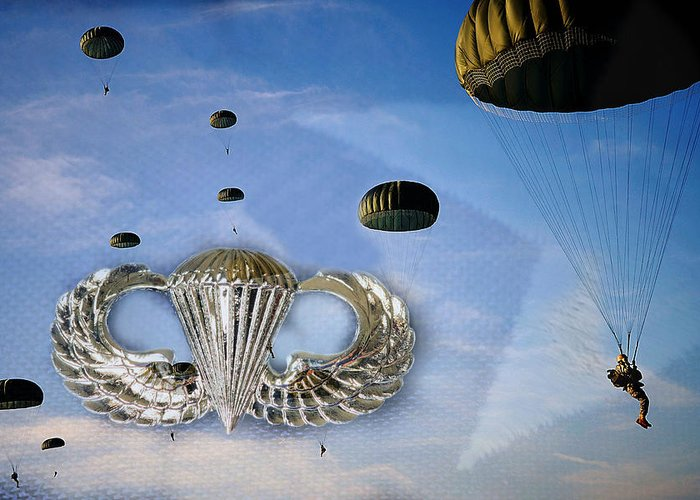 U.s. Army Greeting Card featuring the photograph Airborne by JC Findley