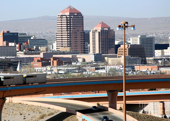 Aerial Greeting Card featuring the photograph Albuquerque Skyline by Bill Cobb