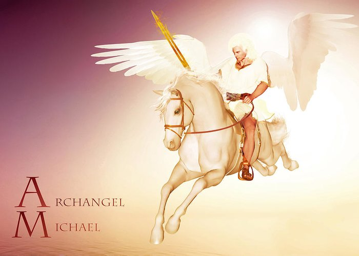 Archangel Michael Greeting Card featuring the painting Archangel Michael by Valerie Anne Kelly