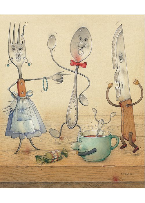 Kitchen Table Food Spoon Fork Knife Greeting Card featuring the painting Argument by Kestutis Kasparavicius