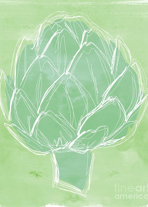 Artichoke Greeting Card featuring the painting Artichoke by Linda Woods