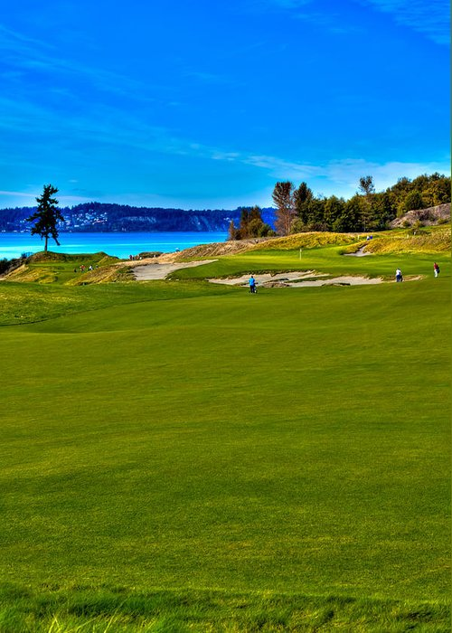 Chambers Bay Golf Course Greeting Card featuring the photograph #2 At Chambers Bay Golf Course - Location Of The 2015 U.s. Open Championship by David Patterson